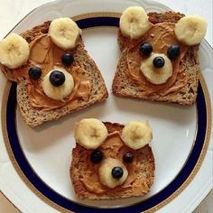 Cute peanut butter & banana sandwiches
