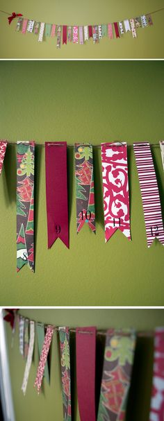 Kids can make their own bunting advent calendar. Can add personal Christmas activities on the flip side.
