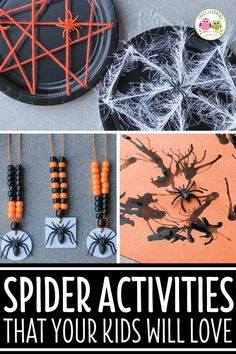 Here are some fun spider activities for preschoolers. Find spider fine motor, counting, art activities that are perfect for your preschool Halloween theme. Halloween Theme Preschool, Theme Halloween, Fall Preschool, Halloween Crafts For Kids, Halloween Activities, Autumn Activities, Preschool Crafts, Preschool Activities, Fun Crafts