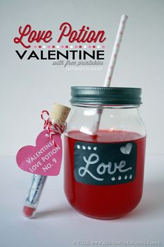 Love Potion Valentine with Free Printables!  Send these cute treats with your child on Valentine's Day!  #Valentinesday #freeprintables
