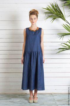 """Купить Платье из легчайшей джинсы """"Марина"""" - тёмно-синий, однотонный, джинсовый стиль, сарафан"""