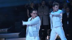 Focused: Carlos, Alek and their partners also failed to impress with their showstopper number to We Will Rock You