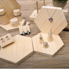 Natural Wood Jewelry Display Stand Necklace Earrings Ring Display Holder Rack - August 31 2019 at Wood Display Stand, Earring Display Stands, Ring Displays, Display Cases, Wooden Jewelry Display, Jewellery Display, Jewellery Shops, Vitrine Design, Bracelet Display