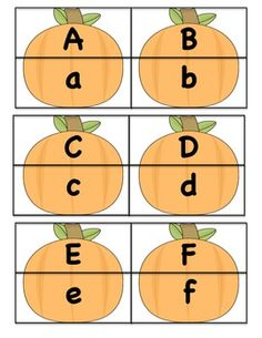 Pumpkin Puzzle - fall literacy center. uppercase/lowercase letter match. numbers to ten (digits/words) included.