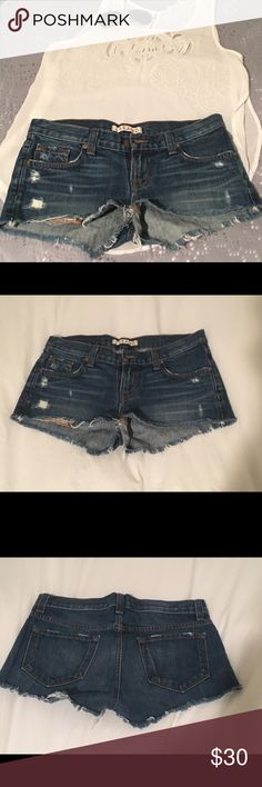 J Brand Low Rise Denim Cutoff Distressed Shorts Super cute J Brand denim shorts. They came pre-distressed with frays where they cut-off. I only wore them a few times, so they are in great condition! Unfortunately, they're too small on me :( They look great with anything and everything! Let me know if you have questions - Xo, Sam J Brand Shorts Jean Shorts
