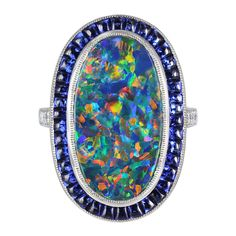 Lightning Ridge Black Opal and Sapphire Ring   1stdibs.com