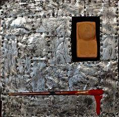 """ Self-portrait ""  - collage on wood  Artist: Daniel Loagăr"