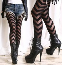 (1) unbreakable2787's save of Party Club Runway Chic Fashion Punk V Ribbon Up Sheer Opaque Tights Pantyhose on Wanelo