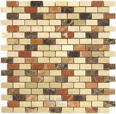 MIX2 Crema Marfil Rojo Alicante Emperador Dark Tile Stone Tile