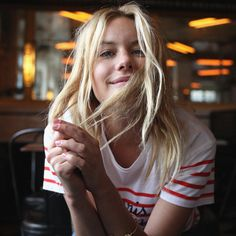 "madewell et sézane, july 2015: french-american muse camille rowe in the striped ""paris mon amour"" t-shirt. #madewellxsezane"