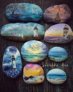 Морское, любимое #senichka_ann #аниныкамни #волшебныерисункинакамнях #миниатюрнаяроспись #твойкарманныйталисман #росписьгальки #галька…