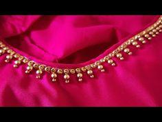 Simple wedding blouse designing / Hand work/ blouse neck designing - YouTube Simple Blouse Designs, Bridal Blouse Designs, Blouse Neck Designs, Blouse Simple, Cut Work Blouse, Sleeves Designs For Dresses, Dress Designs, Mirror Work Blouse Design, Princess Dress Patterns