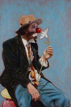 The Romantic (The Artist as a Clown), is an original 11 x 17 oil painting by Brooklyn based artist David Weinholtz Le Clown, Clown Faces, Creepy Clown, Circus Art, Circus Clown, Art Du Cirque, Clown Paintings, Pierrot Clown, Vintage Clown
