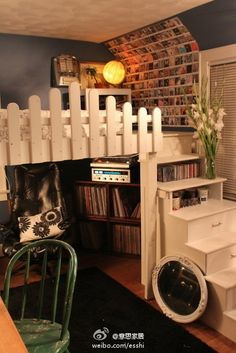 Perfect idea for a little loft #bunkbed #diy #whitepicketfence #decor