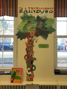 What a cool idea! Chicka chicka boom boom sensory tree!  A: animal crackers B: beads C: cotton balls D: dot paint E: eyes (googley eyes) F: feathers G: glitter H: hearts I: plastic insects J: jack o lantern stickers K: little keys L: legos M: marshmallows N: noodles O: oatmeal P: paperclips Q: q-tips R: rice S: straws T: toothpicks U: cocktail umbrellas V: vegetable stickers W: plastic warms X: x shaped grout separators Y: yarn Z: rick rack ribbon (zig zag fabric)
