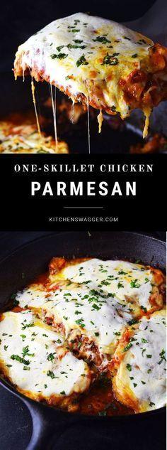 Classic chicken parmesan prepared in a single cast iron skillet.