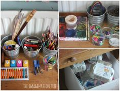 Art materials for a child's creative area:  note the crates below with recyclables;  supplies on table?