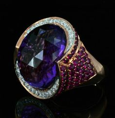 14K Gold, 19.18CT Amethyst & 1.67CT Ruby & Diamond