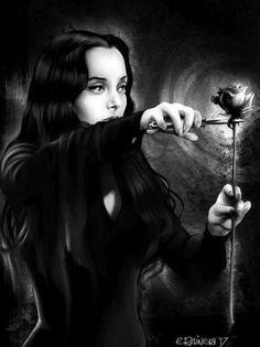 Morticia Adams, Gomez And Morticia, Estilo Tim Burton, Tim Burton Art, Dark Beauty, The Addams Family 1964, Charles Addams, Carolyn Jones, Beautiful Dark Art