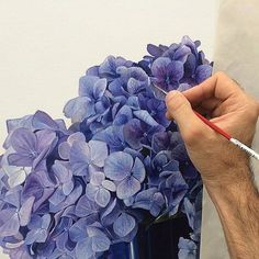 Super realistic watercolor painting of hydrangeas by Michael Zavros Botanical Art, Botanical Illustration, Watercolour Painting, Watercolor Flowers, Watercolours, Decoupage Vintage, Hydrangea Painting, Art Lessons, Flower Art