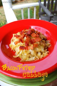 """Bacon Fried Cabbage -   Bacon Fried Cabbage  (recipe adapted from allrecipes.com)  6-7 slices of bacon, chopped  1 large onion, chopped  2 cloves garlic, minced  1 large head cabbage, cored and sliced 1/4"""" slices  1 Tb + 1tsp salt  1 tsp pepper  1/2 tsp garlic powder  1/2 tsp onion powder  1/8 tsp paprika"""