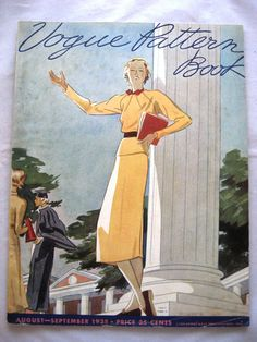 Vogue Pattern Book, August-September 1935, featuring Vogue 7057