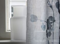 The Usva pattern reminds of summer mornings and evenings. The beautiful ink blue pattern depicts a silhouette of sorrel, and it is created by designer Liina Harju. Slightly translucent Usva curtain is made of linen. The curtains can be machine washed Linen Curtains, Linen Fabric, Cushions, Ink Blue, Mornings, Pattern, Fabrics, Silhouette, Cover