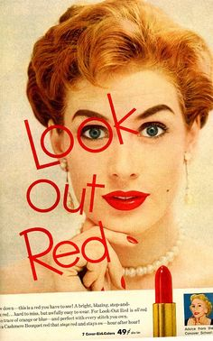 Original 1950 advertisement for Cover Girl's Cashmere Bouquet lipstick.