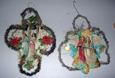 Vintage Christmas 2 Paper Ornaments Angels GERMANY Victorian 1900s | eBay