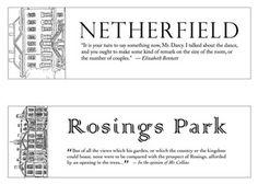 Netherfield - Rosings Park, bookmarks to download, via Hey Little Birdie