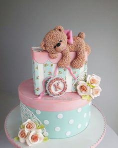 Cake for a baby girl - cake by Couture cakes by Olga Baby First Birthday Cake, Birthday Cake Girls, Amazing Birthday Cakes, Birthday Cake Design, Special Birthday, Amazing Cakes, Jednostavne Torte, Torta Baby Shower, Teddy Bear Cakes