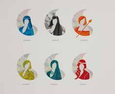 Minimal portraits of a few of my favourite female channellers from The Wheel of Time series by Robert Jordan.