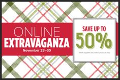 Stampin' UP!'s 2015 Online Extravaganza runs November 23-30! Check out the 24 hour Sale Items and the rest of the week's savings! http://createwithdee.typepad.com/my-blog/2015/11/online-extravanza-starts-november-23rd-see-whats-on-sale.html