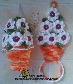 kit porta pano de prato e puxa saco laranja/branco