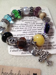 Psalm 23 Hand Beaded Bracelet Swarovski Elements Mixed Sterling and Silver .
