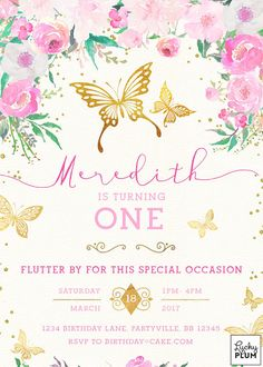 A gold foil garden butterfly invitation surrounded by a field of spring flower blossoms. And no invite is complete without a wondering a little glitter. Back page included **Please note this design has elements that are designed to look metallic, but no actual metallic ink or foil