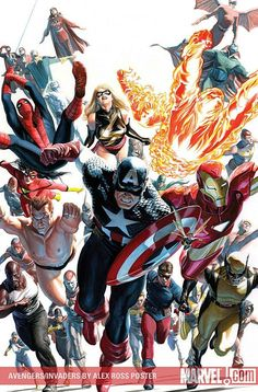 Avengers / Invaders poster, by Alex Ross.