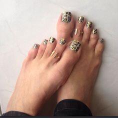 Camouflage pedi with gold swirls