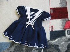 Stricken Sailor Dress pattern by Judy Lamb, Baby Girl Crochet, Crochet Baby Clothes, Crochet For Kids, Sailor Baby, Navy Sailor, Baby Dress Tutorials, Knit Baby Dress, Girls White Dress, Sailor Dress