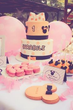 Elegant Kids Organisers treat every aspect of the event from concept to execution with the dedication needed to ensure a stress - free and memorable event. Minnie Mouse Party, Mouse Parties, 1 Year Birthday, Birthday Cake, Macaroons, Dessert Table, Party Themes, How To Memorize Things, Treats