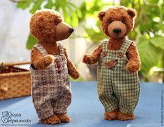 Купить Мишки Бим и Бом - авторские плюшевые медведи тедди ХТ - коричневый