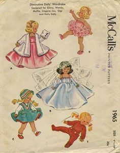 """Vintage Doll Clothes Sewing Pattern   Diminutive Dolls' Wardrobe Designed for Ginny, Wendy, Muffie, Lingerie Lou, Gigi and Daily Dolly   McCall's 1965   Year 1955   Size 9""""-10"""""""