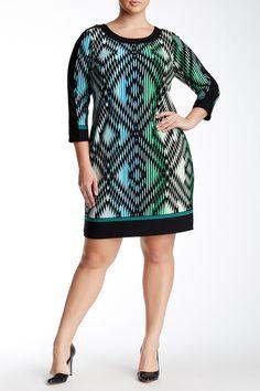 London Times   3/4 Length Sleeve Solid Border Shift Dress (Plus Size)   Nordstrom Rack  Sponsored by Nordstrom Rack.
