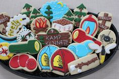 Camping Supplies, Camping Sugar Cookies, Boy Scout, Girl Scout, Decorated Cookies, Birthday Favors by 4theloveofcookies on Etsy