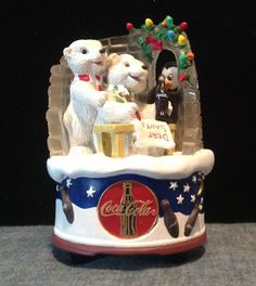 Coca Cola Music Box - 1998 Coca Cola Polar Bear, Coca Cola Christmas, Baby Polar Bears, Always Coca Cola, Vintage Coke, Coke Cans, Music Boxes, Pepsi, Globes