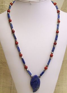 Pendant Necklace Handmade Lapis Lazuli Square Tubes and Red Jasper Round Beads