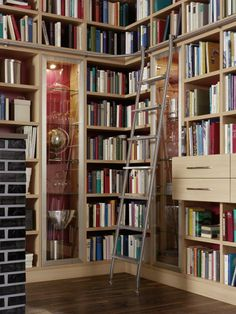 Boekenkast met schuifladder van RVS. Een echte eyecatcher in uw huis!   http://www.comfortinstijl.nl/boekenkast-op-maat/