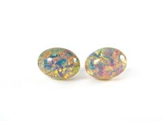Oval Fire Opal Glass Stud Earrings, 6 x 8mm Oval Glass Stud Earrings, Hypoallergenic, Pure Titanium, Faux Opal, Canadian, Surgical Steel by Resiness on Etsy Earring Cards, Czech Glass, Opal, My Etsy Shop, Stud Earrings, Pure Products, Integrity, Gifts, Fire