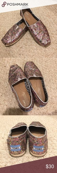 💲✂️Rainbow glitter TOMS loafers Rainbow glitter TOMs, lightly worn. TOMS Shoes Flats & Loafers