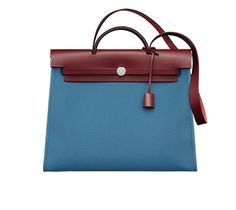 """Herbag Zip 39 Hermes bag in military canvas with Hunter cowhide (size GM) Measures 15.5"""" x 13"""" x 5.5"""" Shoulder strap and handstrap Silver and palladium hardware, outside pocket Color : agate blue/H red"""